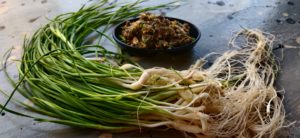 Green garlic thecha